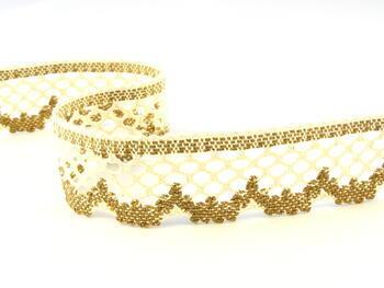 Cotton bobbin lace 75067, width 47 mm, ecru/brown - 1