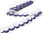 Cotton bobbin lace 75067, width 47 mm, white/dark blue - 1/4