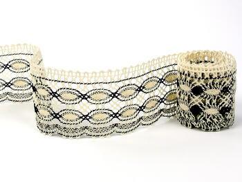 Cotton bobbin lace 75076, width53mm, ecru/dark brown - 1