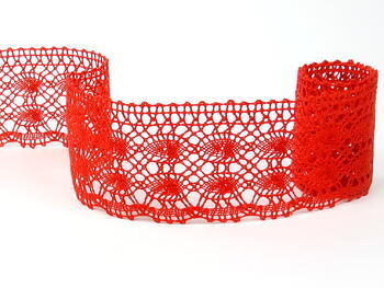 Cotton bobbin lace 75076, width 53 mm, red - 1
