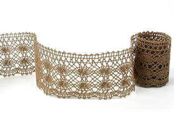 Cotton bobbin lace 75076, width 53 mm, dark beige - 1