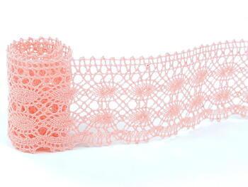Cotton bobbin lace 75076, width 53 mm, pink - 1