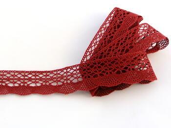 Cotton bobbin lace 75077, width 32 mm, cranberry - 1