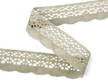 Cotton bobbin lace 75077, width 32 mm, dark linen gray - 1