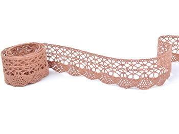Cotton bobbin lace 75077, width 32 mm, terracotta - 1