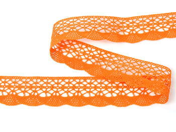 Cotton bobbin lace 75077, width 32 mm, rich orange - 1