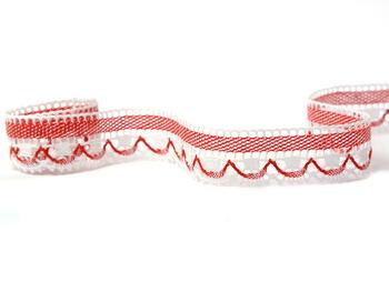 Paličkovaná krajka vzor 75079 bílá/sv. červená | 30 m - 1