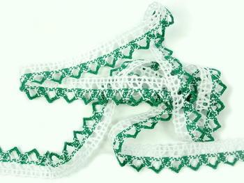Paličkovaná krajka vzor 75087 bílá/světle zelená | 30 m - 1