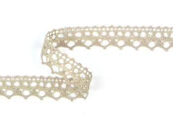 Cotton bobbin lace 75087, width 19 mm, light linen gray - 1