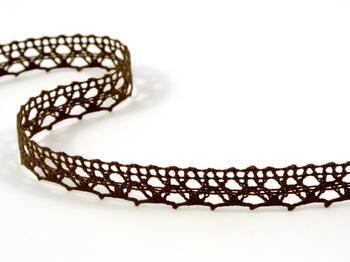 Cotton bobbin lace 75087, width 19 mm, dark brown