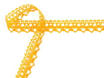 Paličkovaná krajka 75087 bavlněná, šířka19mm, tmavě žlutá