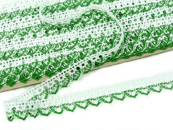 Bobbin lace No. 75087 white/grass green | 30 m - 1