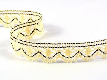 Cotton bobbin lace 75088, width 27 mm, ecru/dark brown