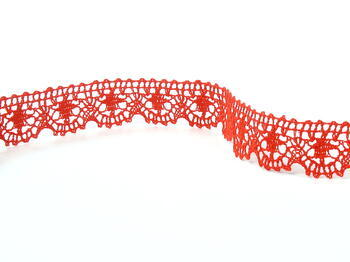 Paličkovaná krajka 75088 bavlněná, šířka 27 mm, červená - 1