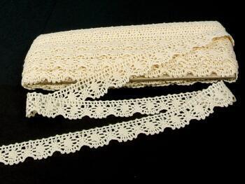 Paličkovaná krajka 75088 bavlněná, šířka27mm, bílá/režná
