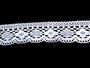 Cotton bobbin lace 75095, width 60 mm, white - 1/4
