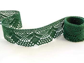 Cotton bobbin lace 75098, width 45 mm, dark green