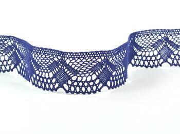 Paličkovaná krajka 75098 bavlněná, šířka45 mm, tmavě modrá - 1