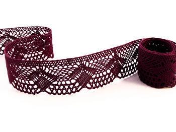 Paličkovaná krajka 75098 bavlněná, šířka45 mm, fialová - 1