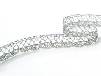 Paličkovaná krajka vzor 75428/75099  stříbrná | 30 m