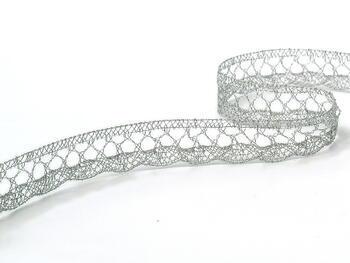 Paličkovaná krajka 75099 metalická, šířka18 mm, Lurex stříbrný - 1