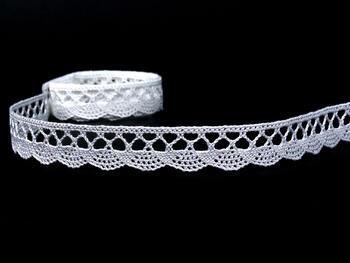 Cotton bobbin lace 75099, width 18 mm, white - 1