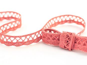 Cotton bobbin lace 75099, width 18 mm, rose - 1