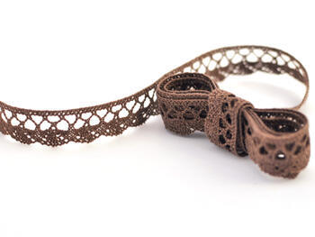 Cotton bobbin lace 75099, width 18 mm, light brown - 1