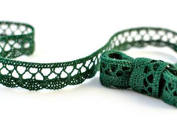 Cotton bobbin lace 75099, width 18 mm, dark green - 1