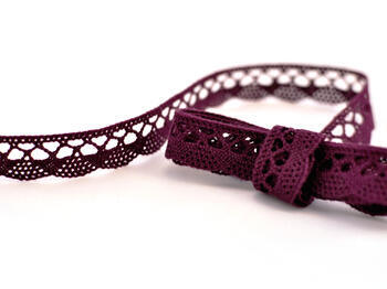 Paličkovaná krajka 75099 bavlněná, šířka18 mm, fialová