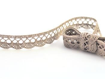 Cotton bobbin lace 75099, width 18 mm, dark linen gray - 1
