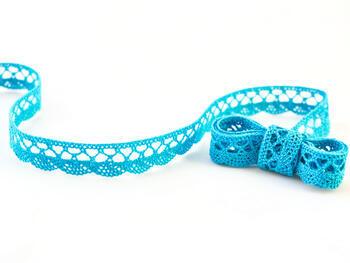 Cotton bobbin lace 75099, width 18 mm, turquoise - 1