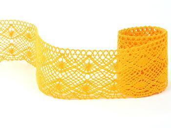 Paličkovaná krajka 75110 bavlněná, šířka53 mm, tmavě žlutá - 1