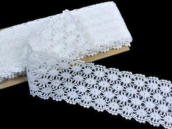 Paličkovaná krajka 75121 bavlněná, šířka80 mm, bílá - 1