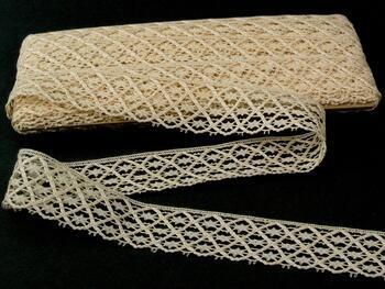 Cotton bobbin lace 75123, width 35 mm, ecru - 1