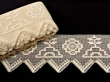 Cotton bobbin lace 75126, width 120 mm, ecru - 1