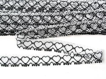 Cotton bobbin lace 75133, width 19 mm, white merc./black - 1
