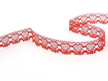 Paličkovaná krajka 75133 bavlněná, šířka19 mm, světle červená