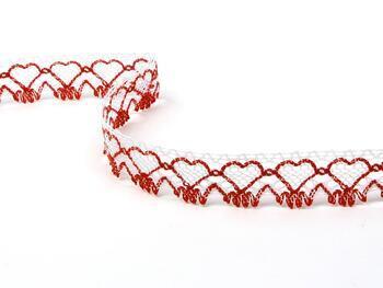 Paličkovaná krajka 75133 bavlněná, šířka19 mm, bílá/sv.červená - 1