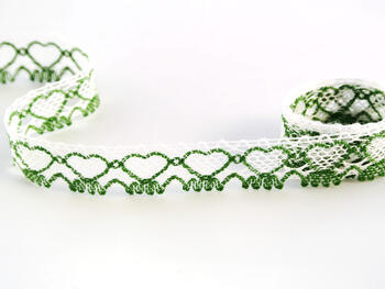 Bobbin lace No. 75133 white/grass green | 30 m - 1