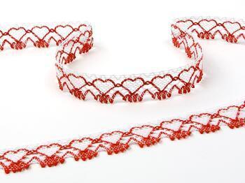Paličkovaná krajka 75133 bavlněná, šířka19 mm, bílá/červená - 1