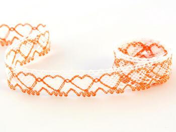 Paličkovaná krajka vzor 75133 bílá/sytě oranžová |  30 m - 1