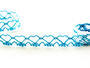 Paličkovaná krajka vzor 75133 bílá/tyrkysová | 30 m - 1/2