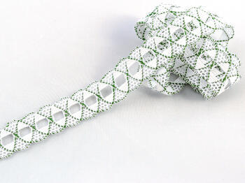Bobbin lace No. 75169 white/grass green | 30 m - 1