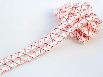 Paličkovaná krajka vzor 75169 bílá/červená | 30 m - 1