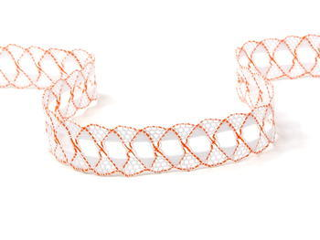 Paličkovaná krajka vzor 75169 bílá/oranžová | 30 m - 1