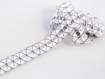 Paličkovaná krajka vzor 75169 bílá/purpurová | 30 m - 1