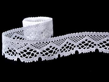 Paličkovaná krajka 75177 bavlněná, šířka47mm, bílá - 1