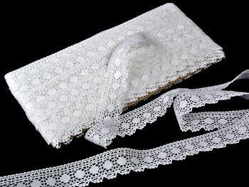 Paličkovaná krajka 75184 bavlněná, šířka25mm, bílá - 1