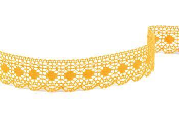 Cotton bobbin lace 75184, width 25 mm, dark yellow - 1